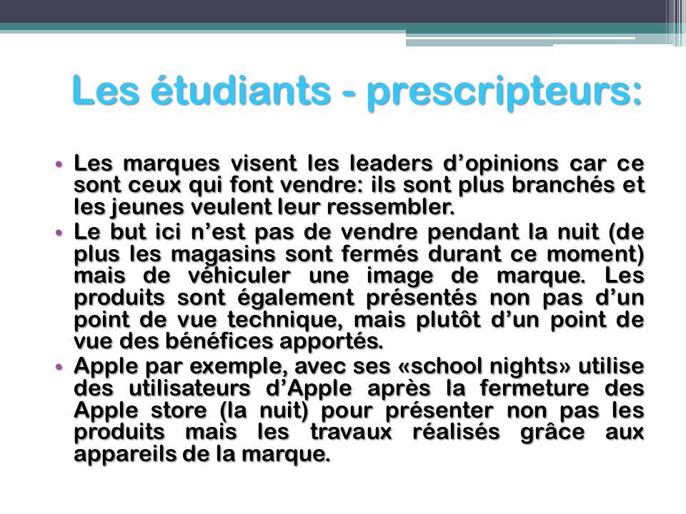 Les étudiants - prescripteurs: