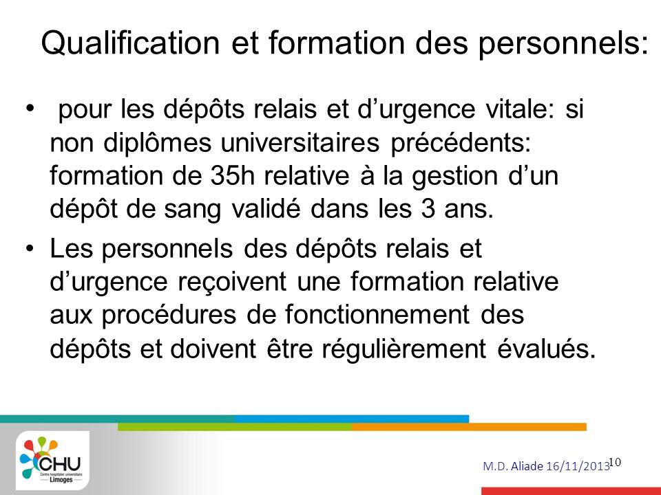 Qualification et formation des personnels: