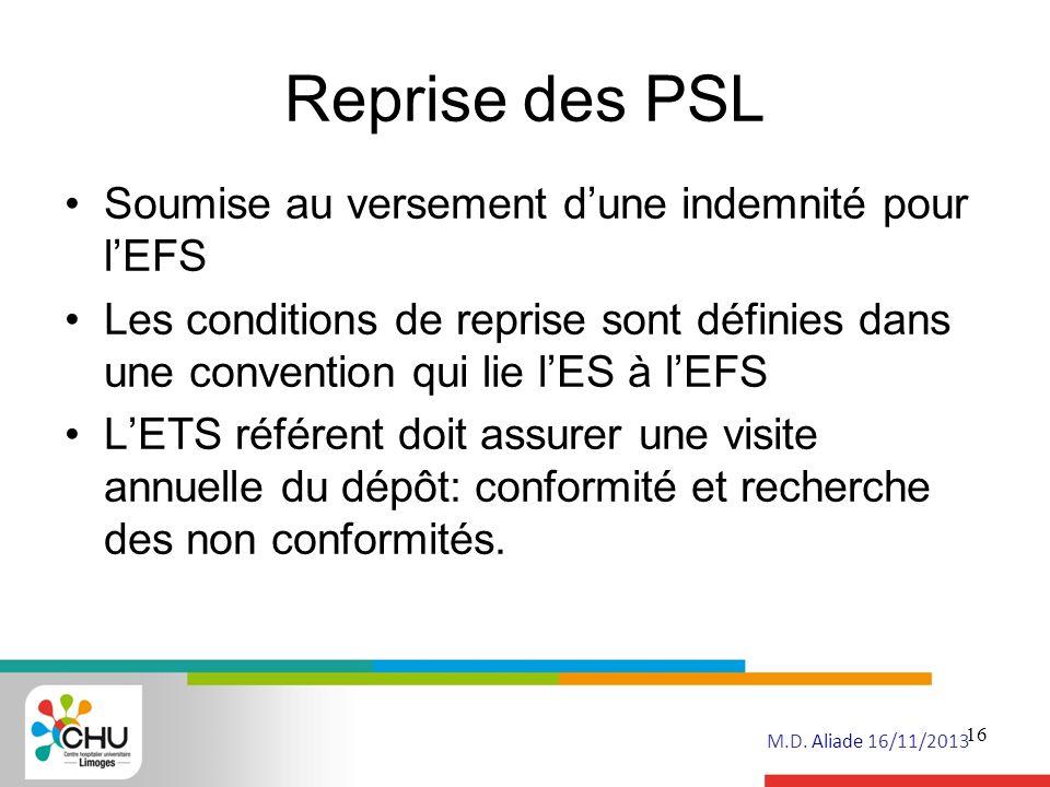 Reprise des PSL Soumise au versement d'une indemnité pour l'EFS