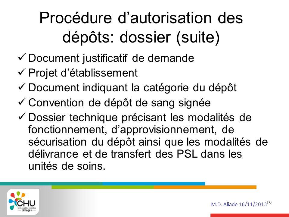 Procédure d'autorisation des dépôts: dossier (suite)