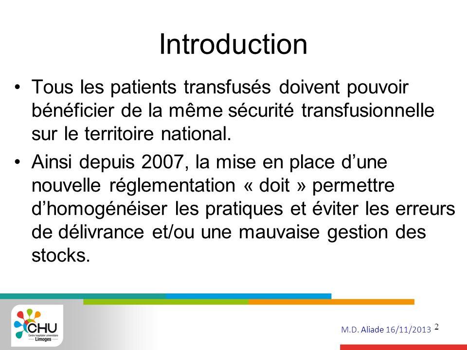 Introduction Tous les patients transfusés doivent pouvoir bénéficier de la même sécurité transfusionnelle sur le territoire national.