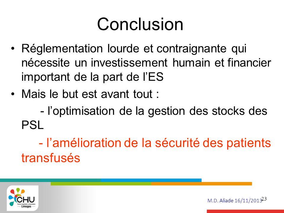 Conclusion - l'amélioration de la sécurité des patients transfusés