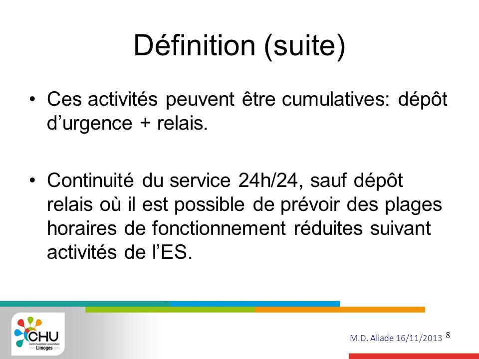 Définition (suite) Ces activités peuvent être cumulatives: dépôt d'urgence + relais.