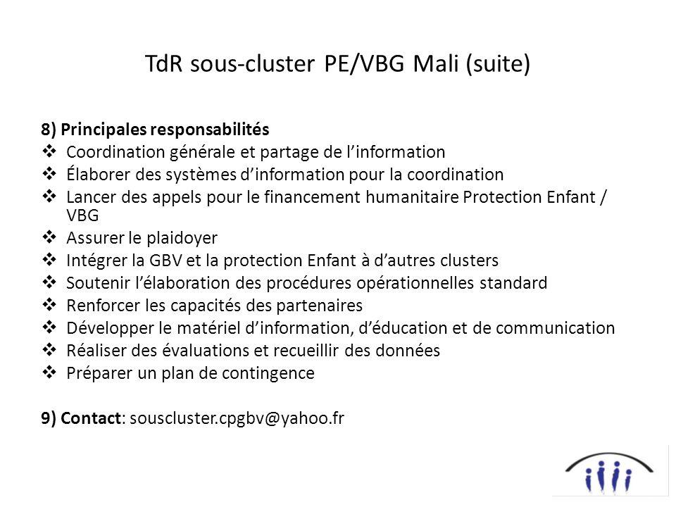 TdR sous-cluster PE/VBG Mali (suite)