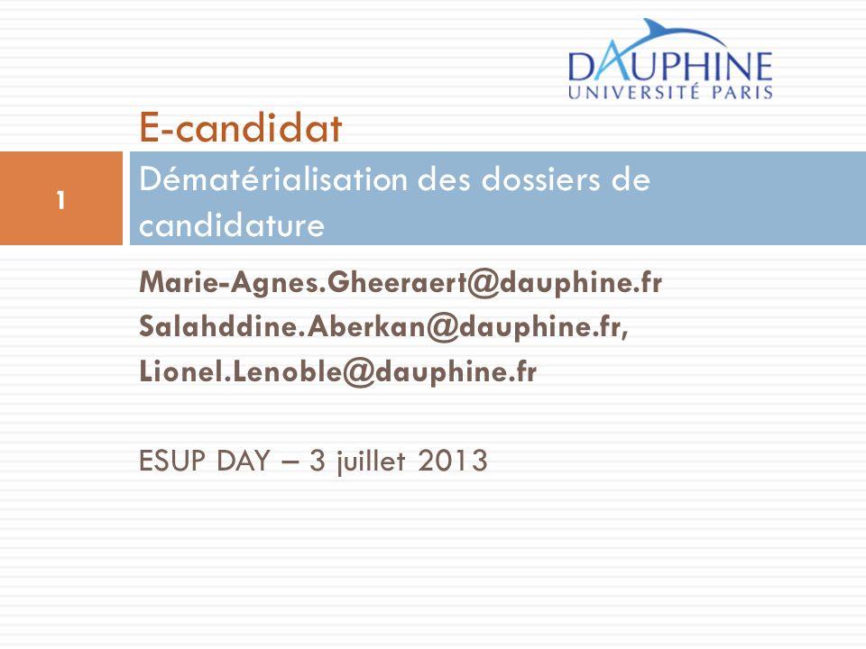 E-candidat Dématérialisation des dossiers de candidature