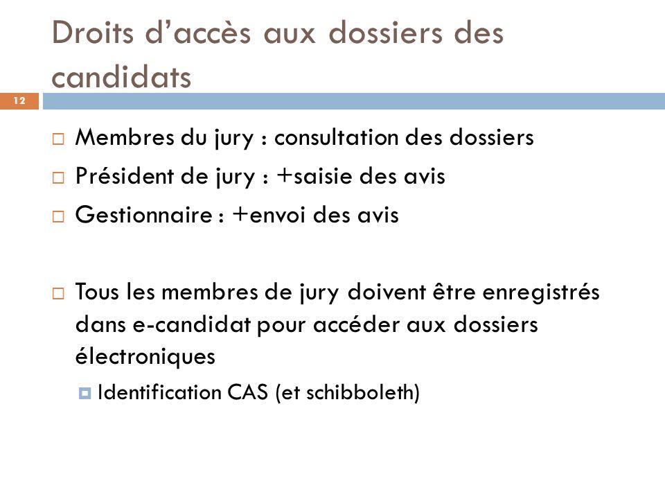 Droits d'accès aux dossiers des candidats