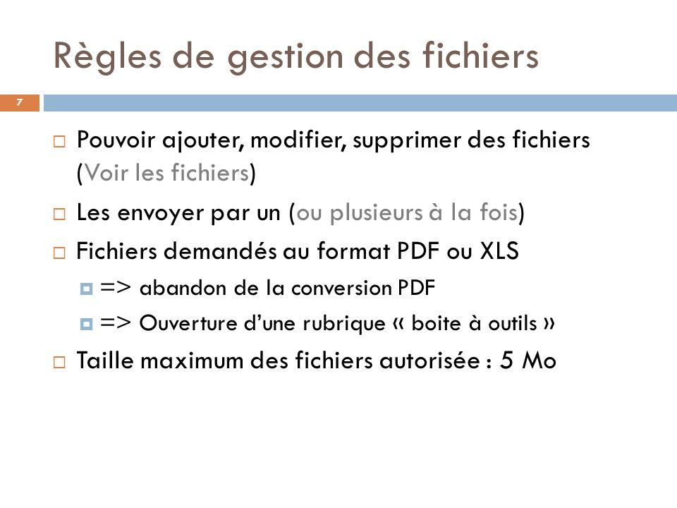 Règles de gestion des fichiers