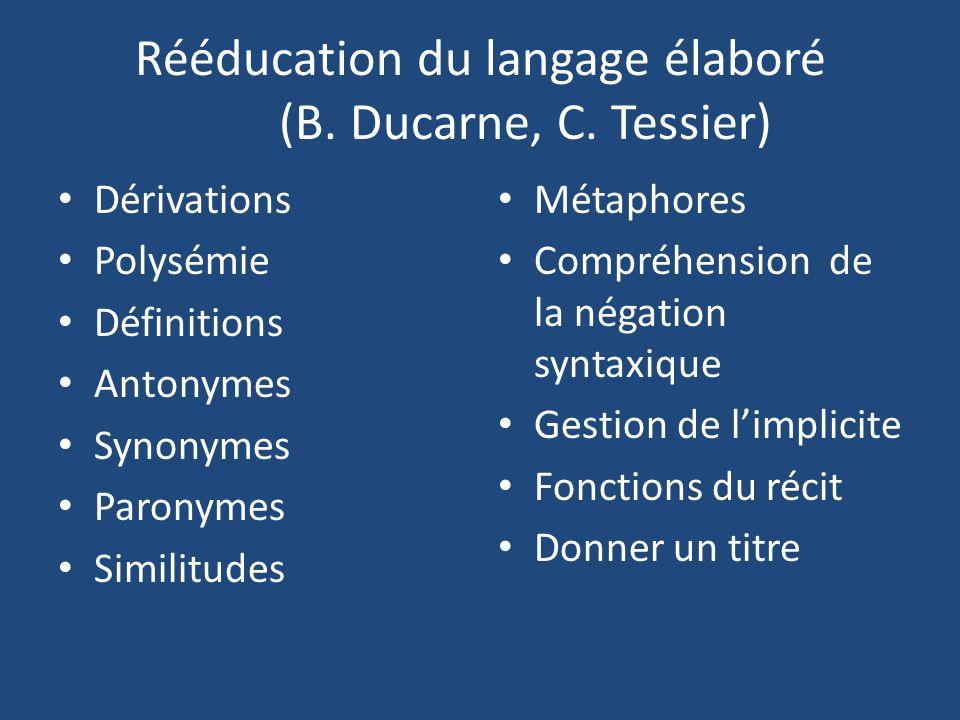 Rééducation du langage élaboré (B. Ducarne, C. Tessier)