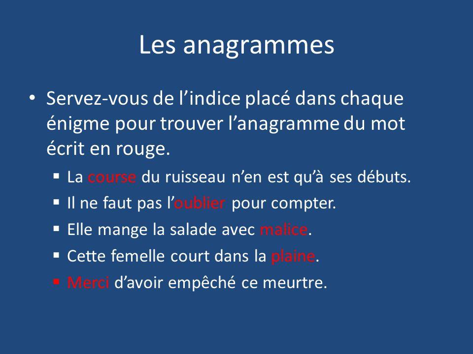 Les anagrammes Servez-vous de l'indice placé dans chaque énigme pour trouver l'anagramme du mot écrit en rouge.