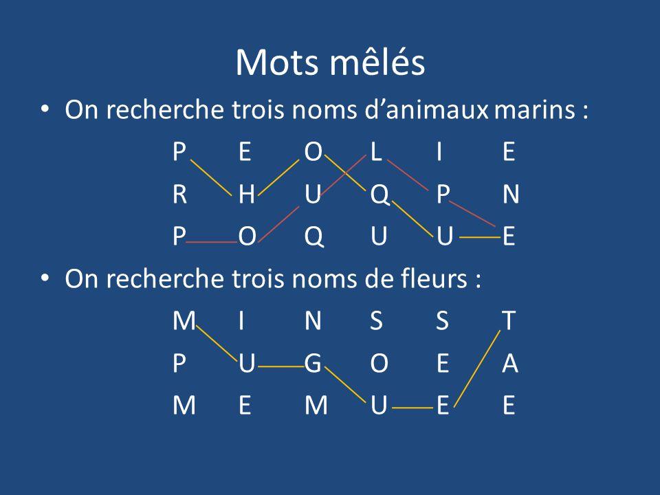 Mots mêlés On recherche trois noms d'animaux marins : P E O L I E