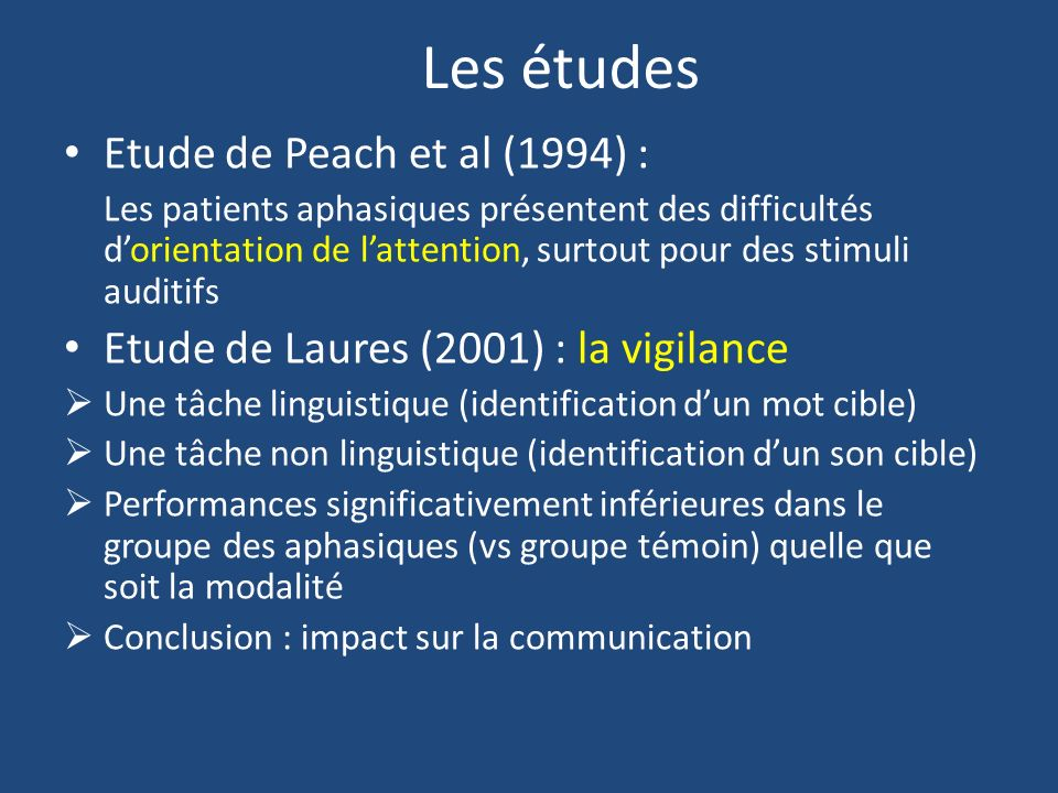 Les études Etude de Peach et al (1994) :