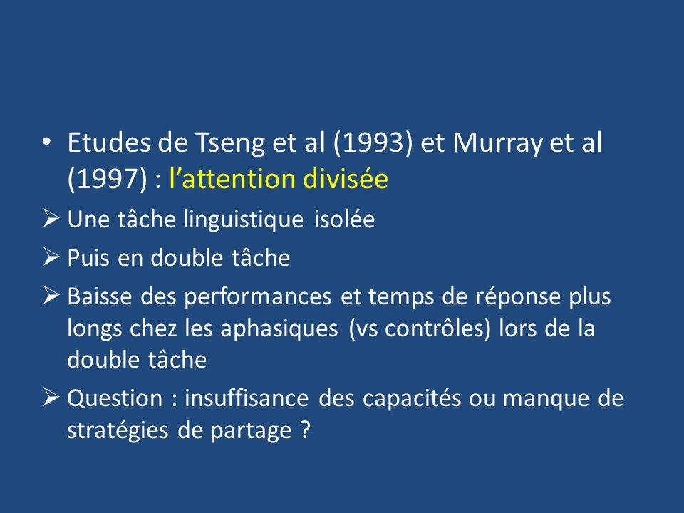 Etudes de Tseng et al (1993) et Murray et al (1997) : l'attention divisée