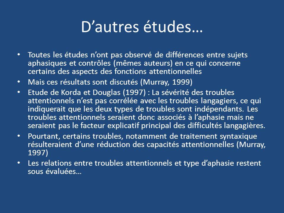 D'autres études…