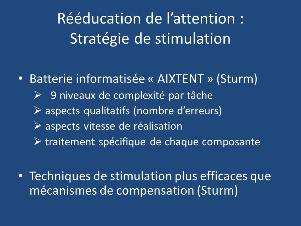 Rééducation de l'attention : Stratégie de stimulation