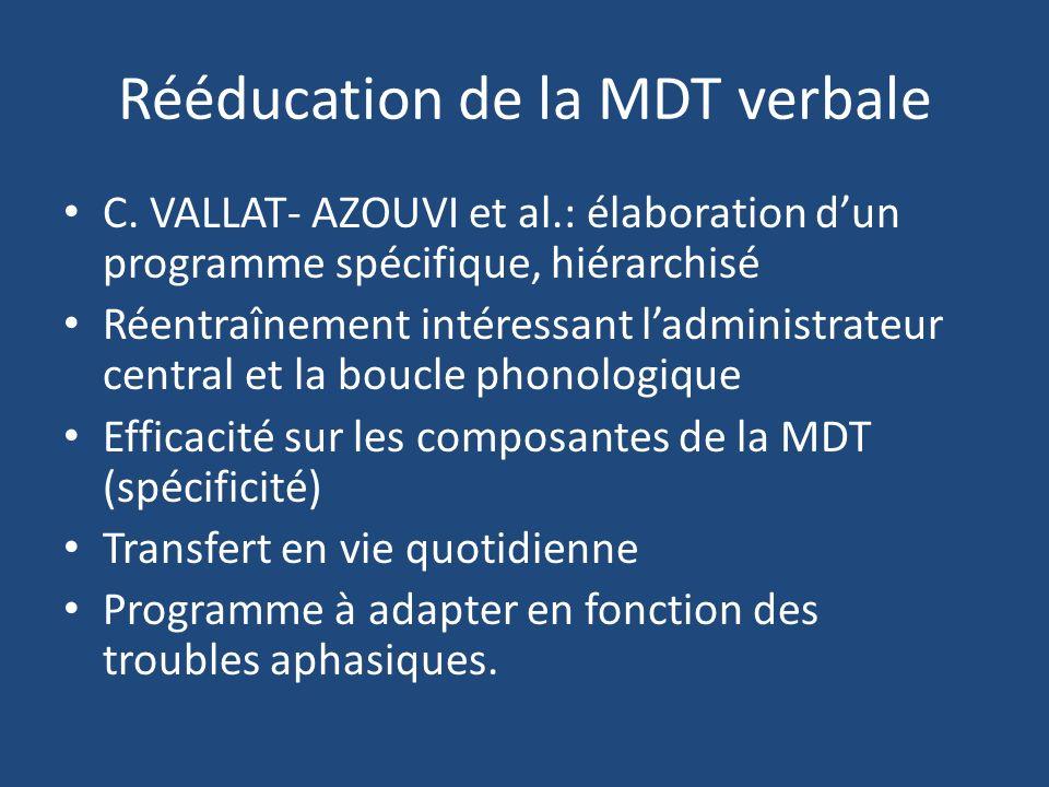 Rééducation de la MDT verbale