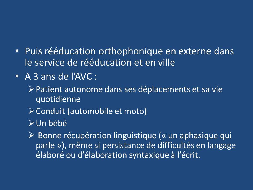 Puis rééducation orthophonique en externe dans le service de rééducation et en ville