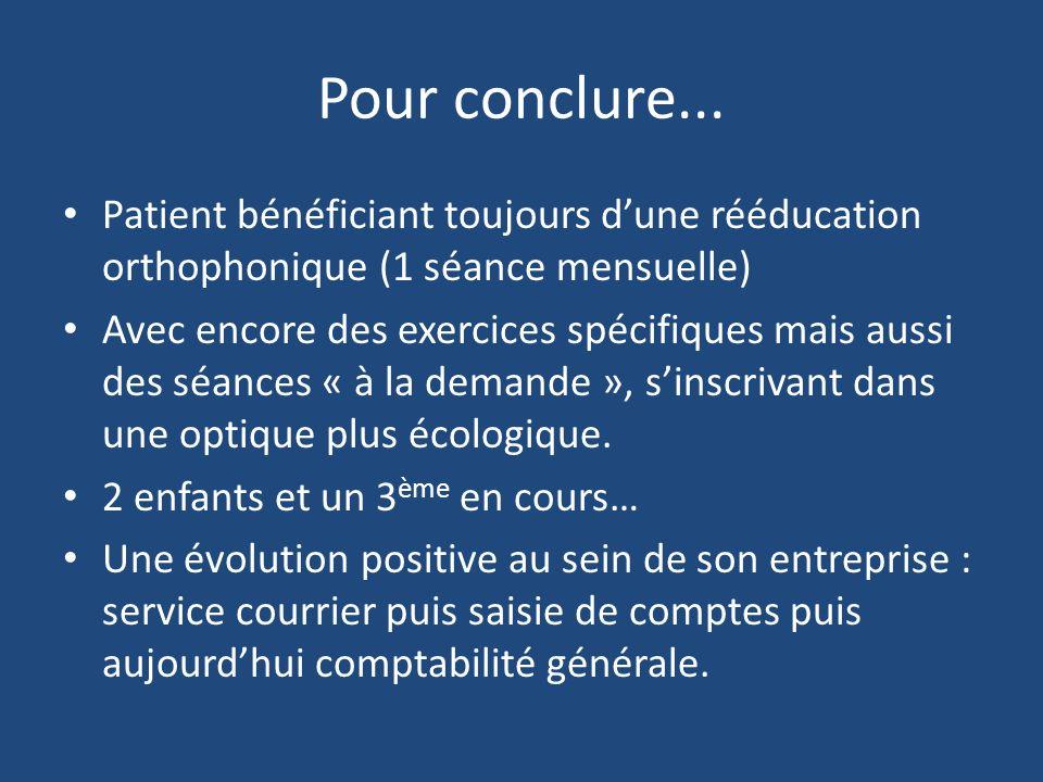 Pour conclure... Patient bénéficiant toujours d'une rééducation orthophonique (1 séance mensuelle)