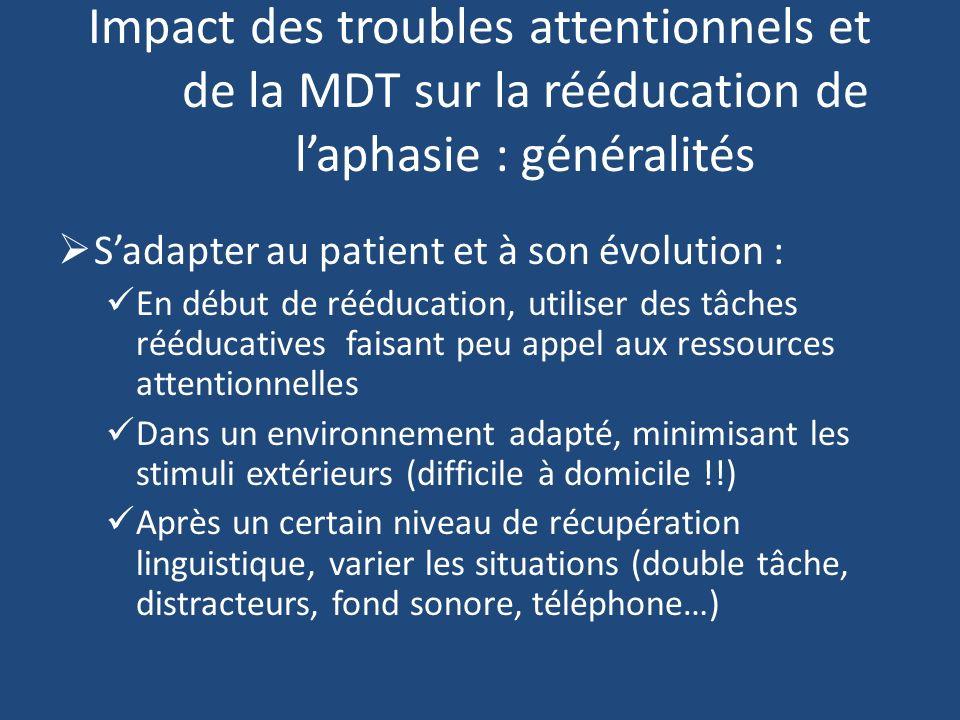 Impact des troubles attentionnels et de la MDT sur la rééducation de l'aphasie : généralités