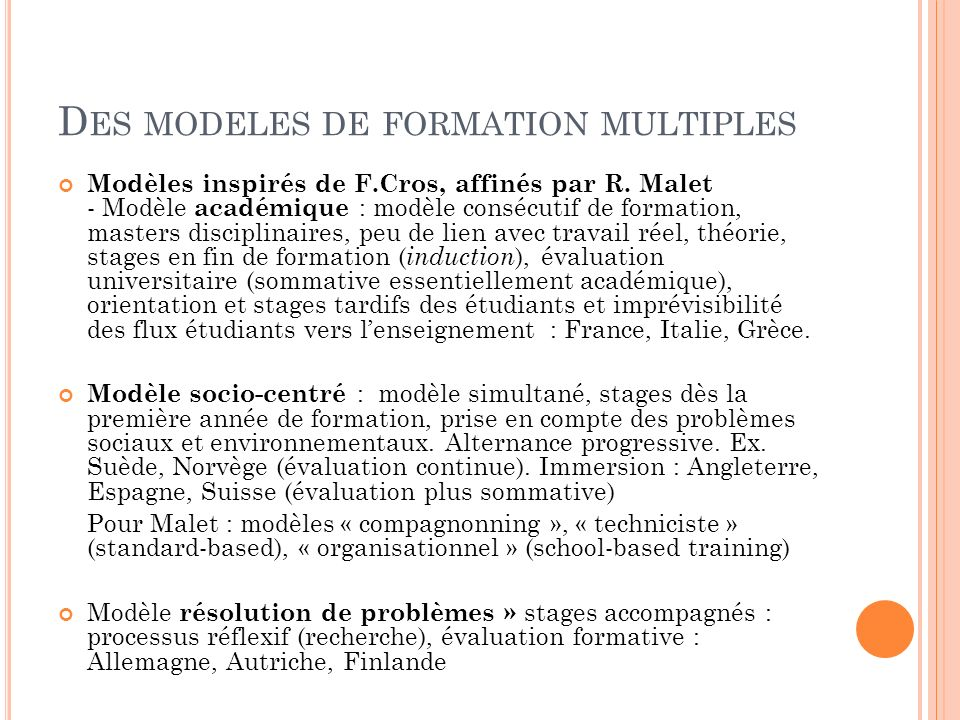 Des modeles de formation multiples