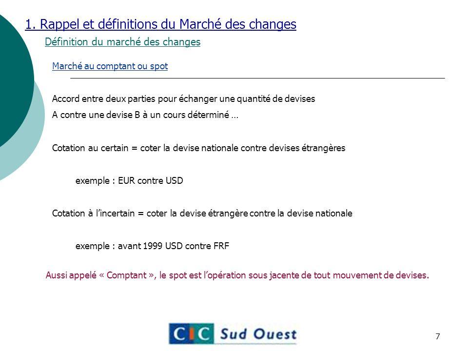 1. Rappel et définitions du Marché des changes