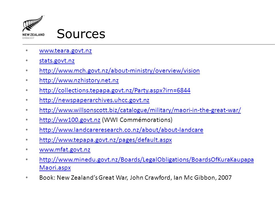 Sources www.teara.govt.nz stats.govt.nz