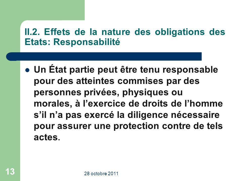 II.2. Effets de la nature des obligations des Etats: Responsabilité