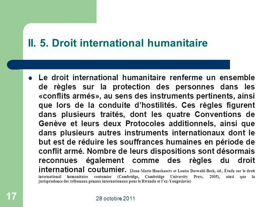 II. 5. Droit international humanitaire