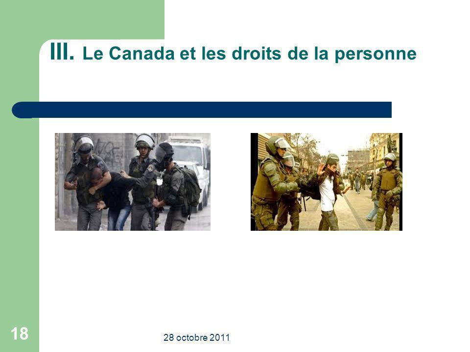 III. Le Canada et les droits de la personne