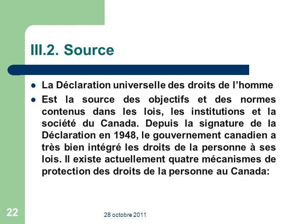 III.2. Source La Déclaration universelle des droits de l'homme