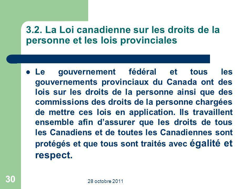 3.2. La Loi canadienne sur les droits de la personne et les lois provinciales