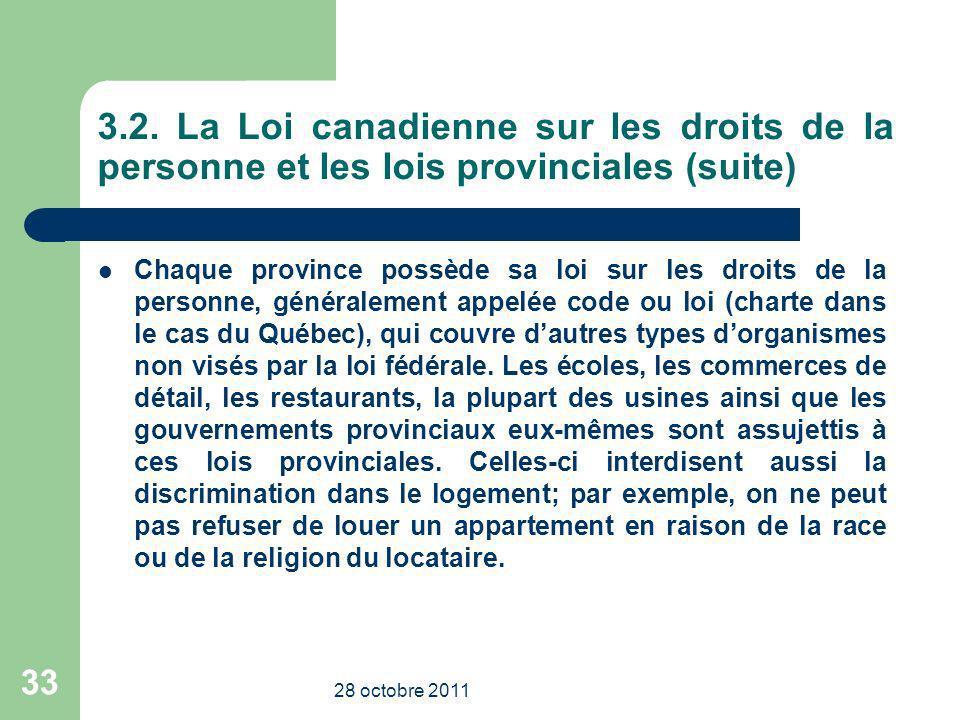 3.2. La Loi canadienne sur les droits de la personne et les lois provinciales (suite)