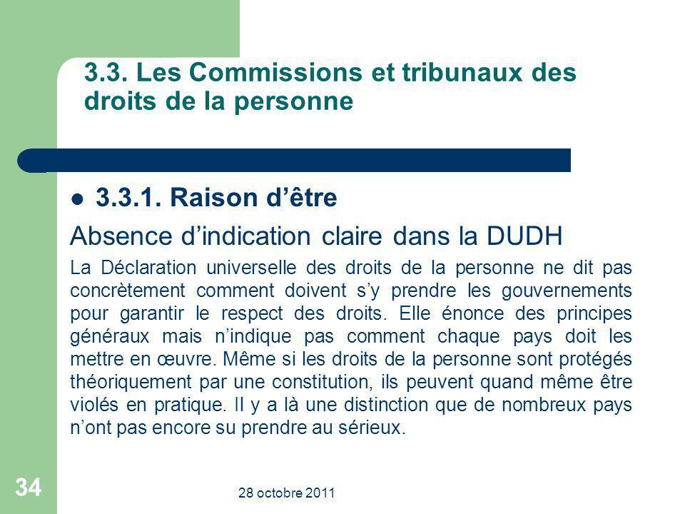 3.3. Les Commissions et tribunaux des droits de la personne