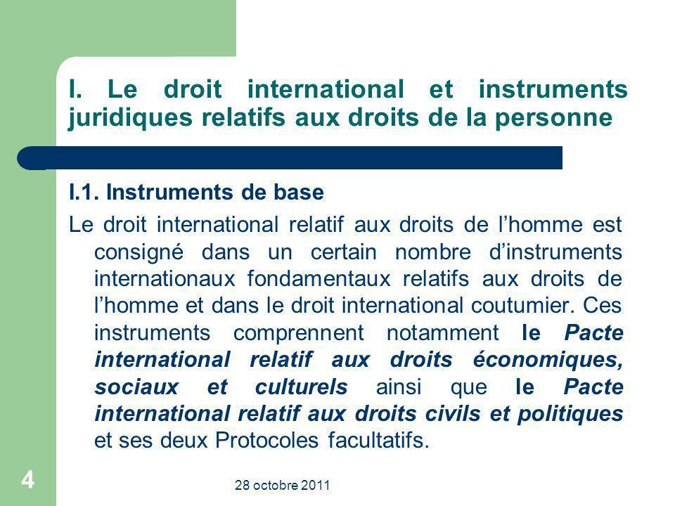 I. Le droit international et instruments juridiques relatifs aux droits de la personne