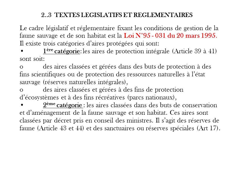 2..3 TEXTES LEGISLATIFS ET REGLEMENTAIRES