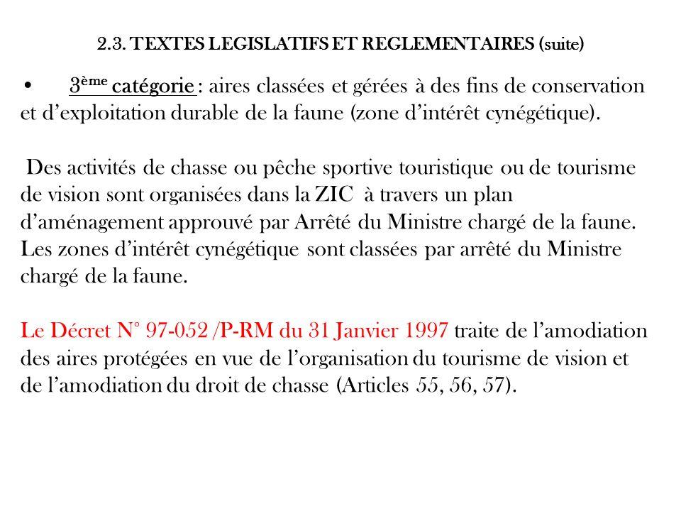2.3. TEXTES LEGISLATIFS ET REGLEMENTAIRES (suite)