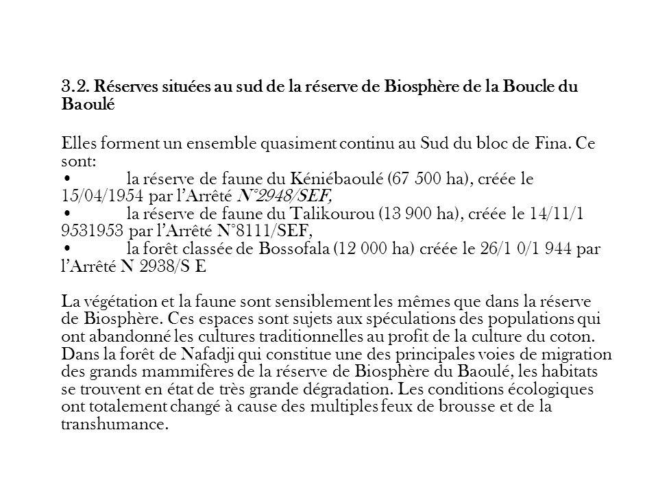 3.2. Réserves situées au sud de la réserve de Biosphère de la Boucle du Baoulé