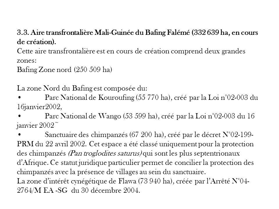 3.3. Aire transfrontalière Mali-Guinée du Bafing Falémé (332 639 ha, en cours de création).