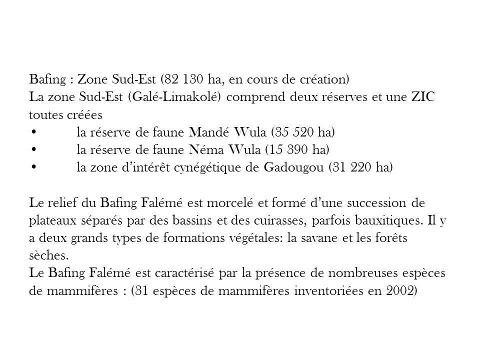 Bafing : Zone Sud-Est (82 130 ha, en cours de création) La zone Sud-Est (Galé-Limakolé) comprend deux réserves et une ZIC toutes créées • la réserve de faune Mandé Wula (35 520 ha) • la réserve de faune Néma Wula (15 390 ha) • la zone d'intérêt cynégétique de Gadougou (31 220 ha) Le relief du Bafing Falémé est morcelé et formé d'une succession de plateaux séparés par des bassins et des cuirasses, parfois bauxitiques.