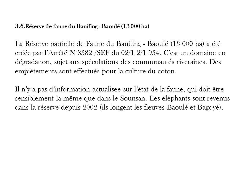 3.6.Réserve de faune du Banifing - Baoulé (13 000 ha) La Réserve partielle de Faune du Banifing - Baoulé (13 000 ha) a été créée par l'Arrêté N°8582 /SEF du 02/1 2/1 954.
