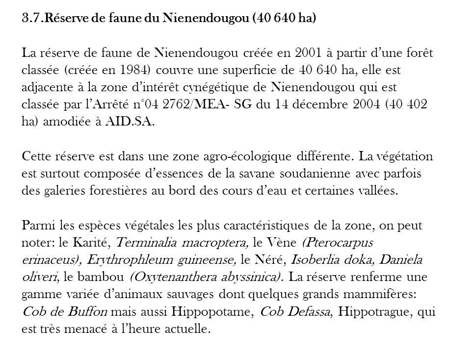 3.7.Réserve de faune du Nienendougou (40 640 ha) La réserve de faune de Nienendougou créée en 2001 à partir d'une forêt classée (créée en 1984) couvre une superficie de 40 640 ha, elle est adjacente à la zone d'intérêt cynégétique de Nienendougou qui est classée par l'Arrêté n°04 2762/MEA- SG du 14 décembre 2004 (40 402 ha) amodiée à AID.SA.