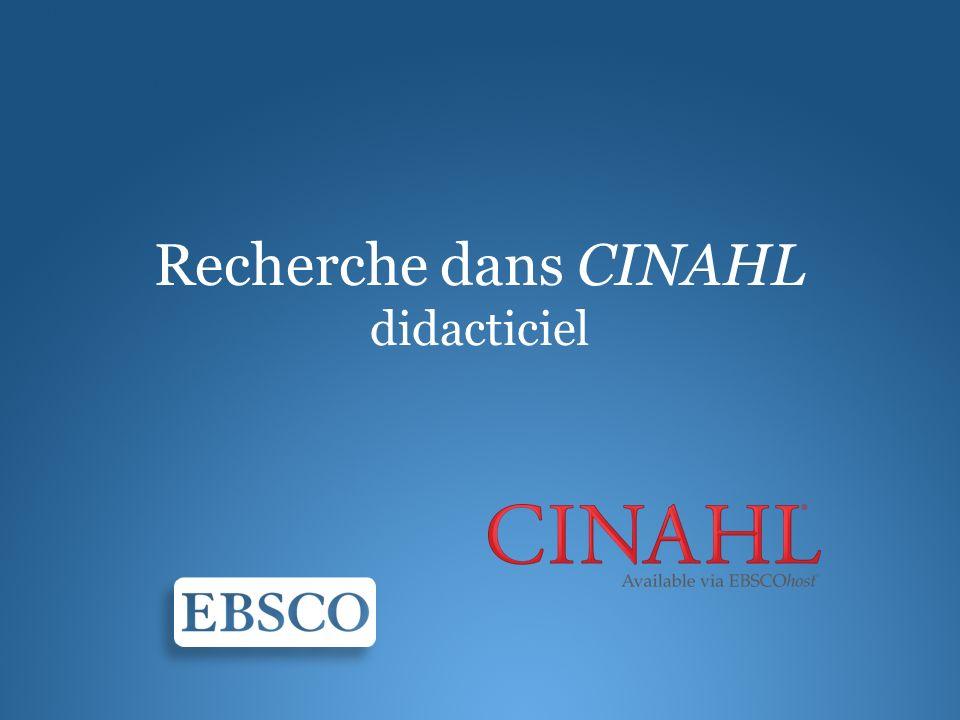 Recherche dans CINAHL didacticiel