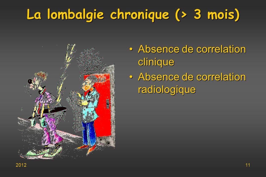 La lombalgie chronique (> 3 mois)