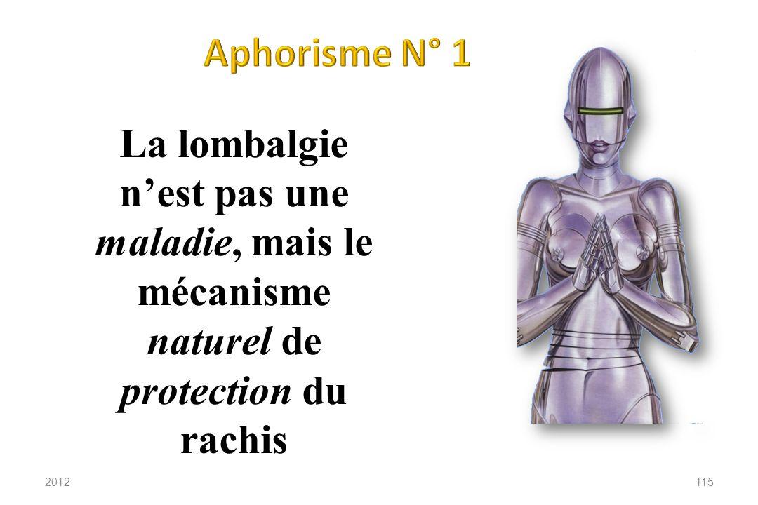Aphorisme N° 1 La lombalgie n'est pas une maladie, mais le mécanisme naturel de protection du rachis.