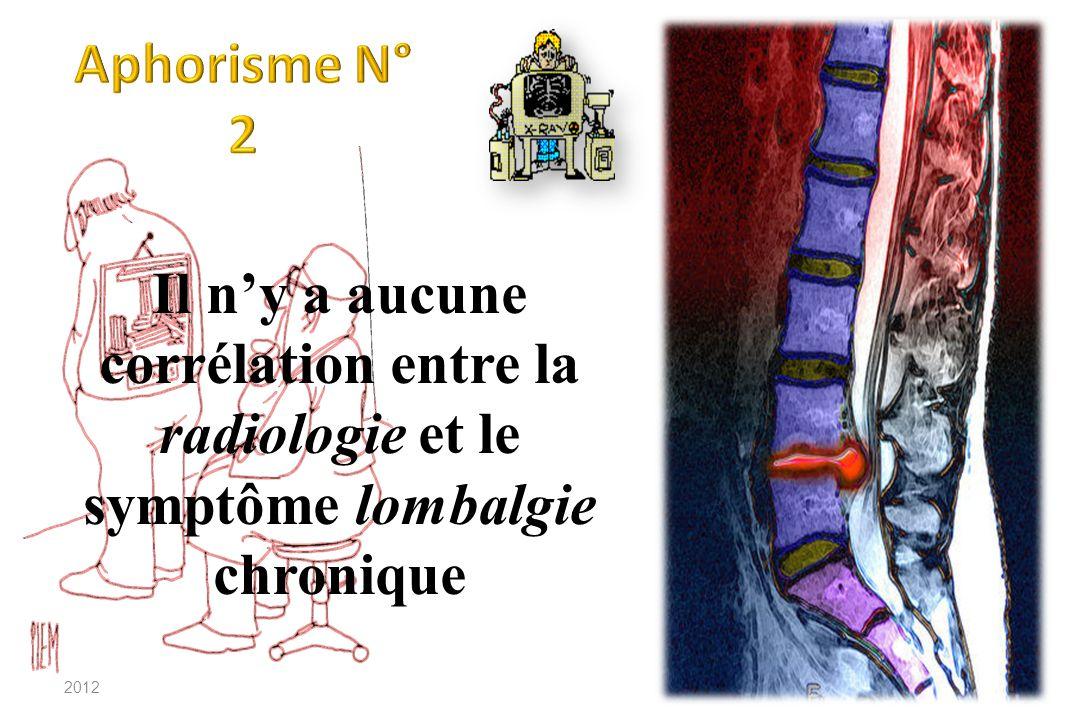 Aphorisme N° 2 Il n'y a aucune corrélation entre la radiologie et le symptôme lombalgie chronique.
