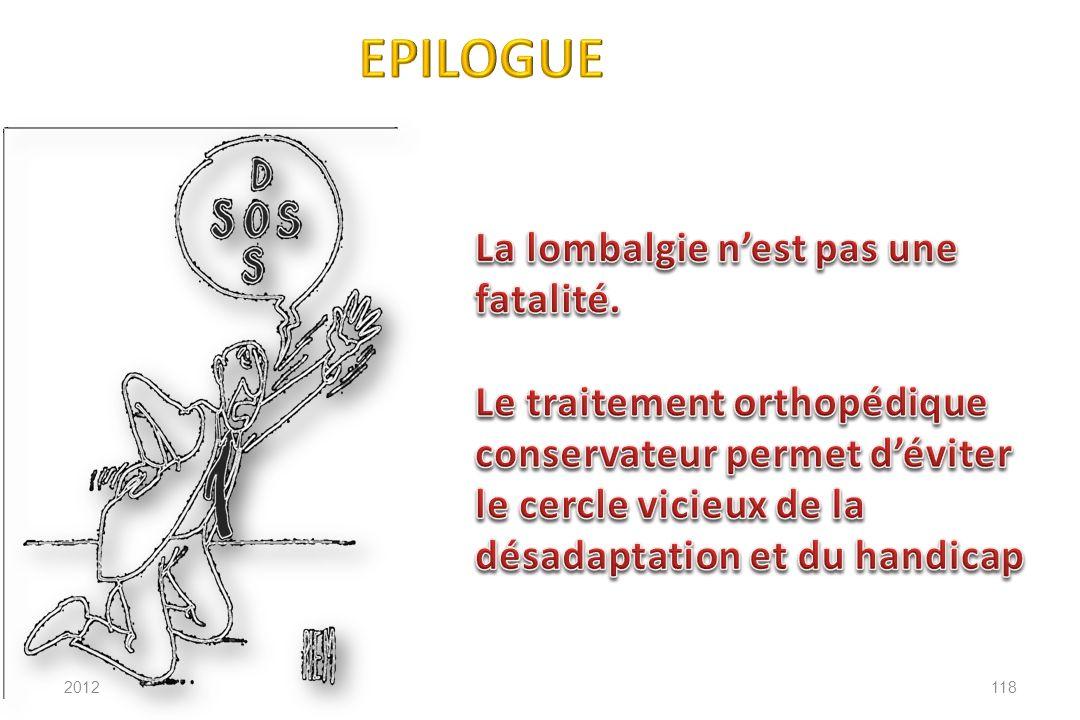 EPILOGUE La lombalgie n'est pas une fatalité.