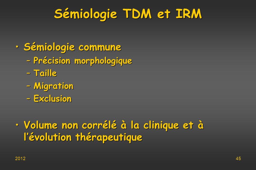 Sémiologie TDM et IRM Sémiologie commune