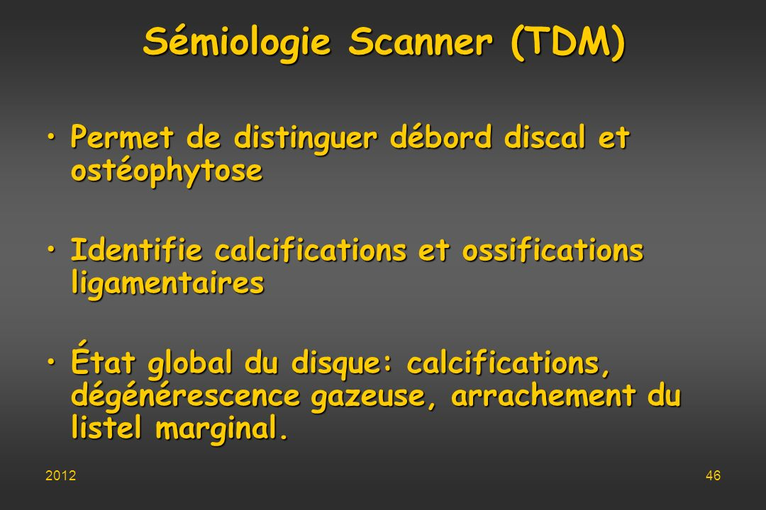 Sémiologie Scanner (TDM)
