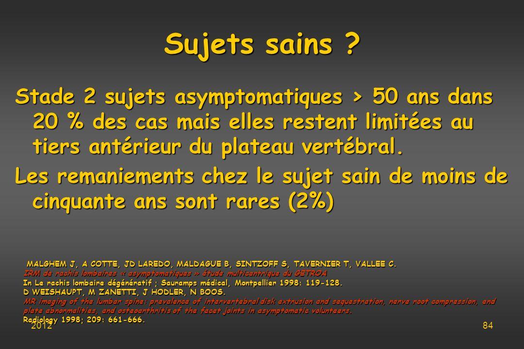 Sujets sains Stade 2 sujets asymptomatiques > 50 ans dans 20 % des cas mais elles restent limitées au tiers antérieur du plateau vertébral.