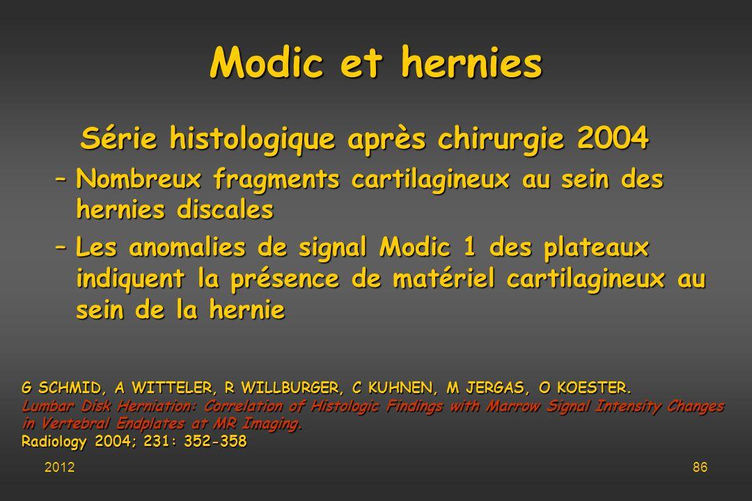 Série histologique après chirurgie 2004
