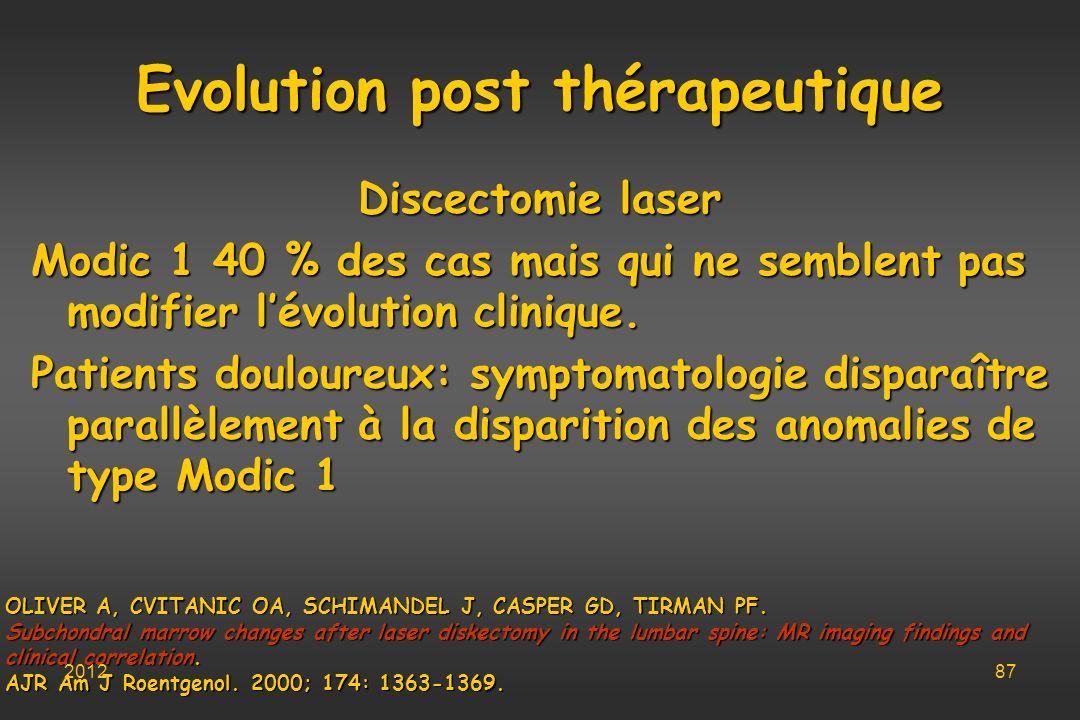 Evolution post thérapeutique